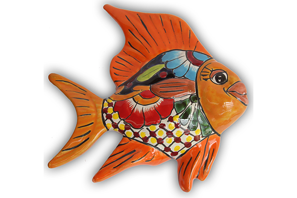 This Unique And Colorful Talavera U201cAngel Fish Wall Artu201d Was Hand Painted,  Using